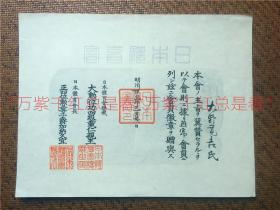 明治45年(1912年)3月日本第一次参加奥运会前夕,由日本体育会颁发的证书,大野宽吉上款。尺寸:29*23cm(不识日文,内容自查)