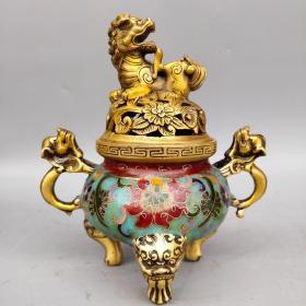 旧藏景泰蓝手工掐丝珐琅彩古龙双耳狮盖熏香炉摆件尺寸如图,重1070克