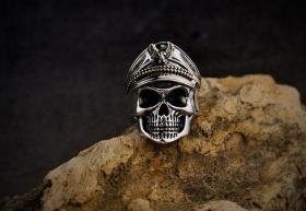 925纯银戒指 军官骷髅头戒指 骷髅头泰银戒指 个性开口男款代表勇敢无畏,工艺精湛值得永久收藏