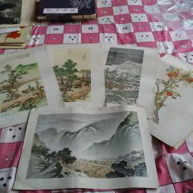 印刷品国画:刘子久画页5张、天津美术出版社、1960年5月一版一印、印数1300(5张合售370)