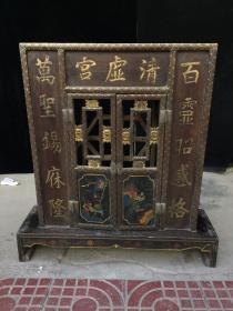 木胎漆器佛龛,细节如图,老家具 老物件