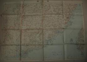 侵华老地图 《南支那地图 》(百万分之一精密日军作战地图!香港 澳门 广州 福州 厦门 汕头 澎湖列岛 台湾!)图上有朱笔标注 疑为当时使用