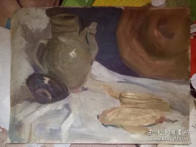 戴泽 1982年绘 油画 静物       【原稿 30×39.8厘米】