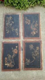 彩绘花板4片,木质旧物,35×23厘米,详见图片