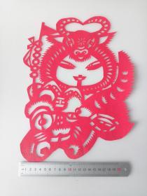 虎娃闹春 传统手工剪纸 民间艺术 (年代:2000年)