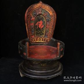 舊藏木胎·漆器佛龕 (背喬記)  細節如圖,