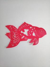 红色金鱼 传统手工剪纸 民间艺术 未托裱(年代:2000年)