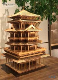 1/100 嘉兴烟雨楼 超大!中国古建筑木模型 宋明样式 斗拱结构 创意拼插 赠工具包