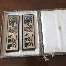 超顶漆烟80年代老胡开文墨厂出品老4两2锭228克套装老墨锭N291