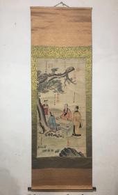 旧字画 刘松年四尺中堂画 人物画 手绘松下对弈图 手卷画