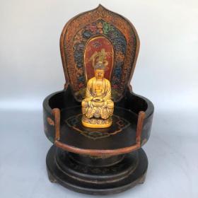 珍藏乔记老木胎漆器佛龛骨头释迦如来佛祖一尊