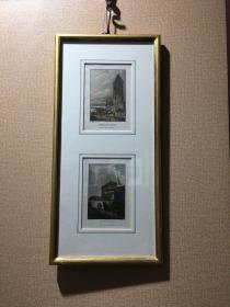 欧洲版画 德国古堡风景 含原装镜框 尺寸:42*20cm
