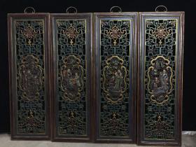 木胎漆器镂空【福星高照】屏风,高94公分,宽31公分,厚度2.5公分