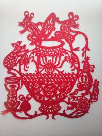 老鼠偷油 传统手工剪纸 民间艺术 未托裱 (年代:2000年)1