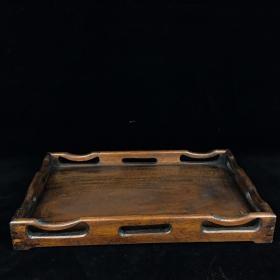 晚清老花梨木素面茶盘一个 长34厘米 宽22厘米,品好.