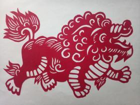 吉祥麒麟 传统手工剪纸 民间艺术 托裱 (年代:2000年)