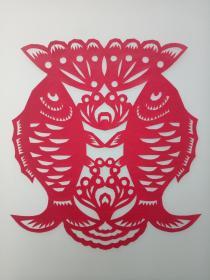 双鱼 传统手工剪纸 民间艺术 未托裱 (年代:2000年)