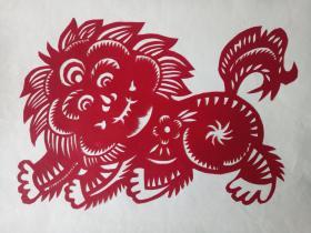 可爱狮子 传统手工剪纸 民间艺术 托裱 (年代:2000年)