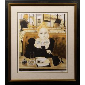 藤田嗣治  代表作  咖啡厅  亲笔签名版画  286/300  品相完好 拍卖级   本幅59.9 x 50cm  全寸90.8x79.8cm