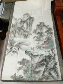 名家山水画,《王金生画一副》尺寸,135Cmx70Cm,外封套已掉,外套上写的是寄往北京书画协会的。