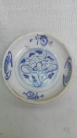 民国时期;耀州陈炉窑青花牡丹花卉、文字--福瓷盘(窖藏品)