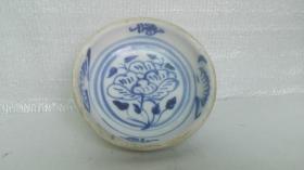 民国时期;耀州陈炉窑青花牡丹花卉、文字--福瓷盘(窖藏品);编号181133