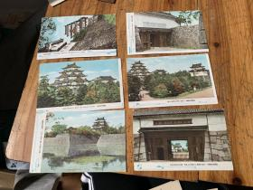 3961:民国日本彩色明信片《恩赐名古屋城》6张,全是名古屋的风景建筑老照片