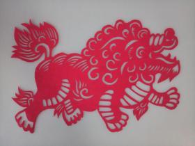吉祥麒麟 传统手工剪纸 民间艺术 未托裱 (年代:2000年)