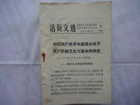 活页文选(1)中国共产党中央委员会关于无产阶级文化大革命的决定