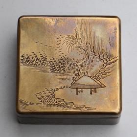 铜墨盒防干印泥盒纯铜方形老铜书法纯铜盒