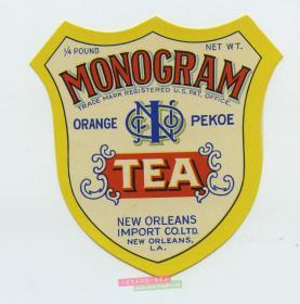 民国时期1/4盎司茶叶贴盒广告商标-----未用品