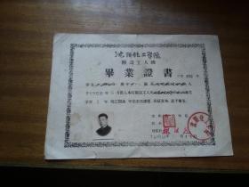 1960年【沈阳化工学院毕业证书】16开本,带照片,印章,编号等,如影实拍