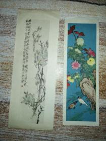 老花鸟画片2枚