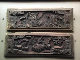 《特价》精工东阳木雕,清代木雕人物门腰板一对