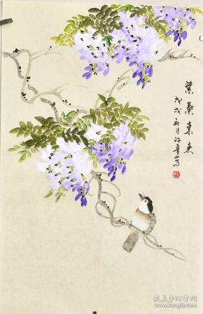 河南美術家協會會員許老師四尺三開花鳥畫gh03536