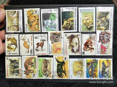 【保真】精美动物邮票,外国动物邮票,一板20枚,送邮票存放卡。信销票。带戳票。02号