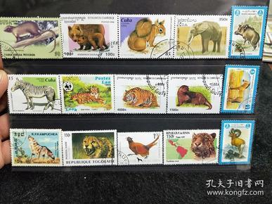【保真】精美动物邮票,外国动物邮票,一板15枚,送邮票存放卡。信销票。带戳票。03号
