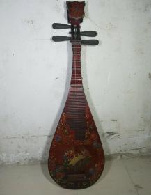 收来的漆器琵琶 老琵琶 早年老乐器