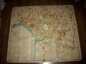 日本原版老地图~万延元年(1860年)!彩色地图【江户城周边图】有御城、西御丸等。100/88厘米