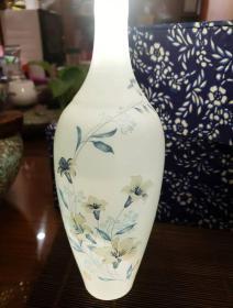珍品精美70年代景德镇出口超薄兰花薄胎瓶保真包老文革瓷器 厂货一毫米