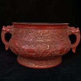 锡红漆器香炉,尺寸如图