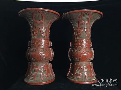 锡红漆器樽一对,高50公分,口径32公分