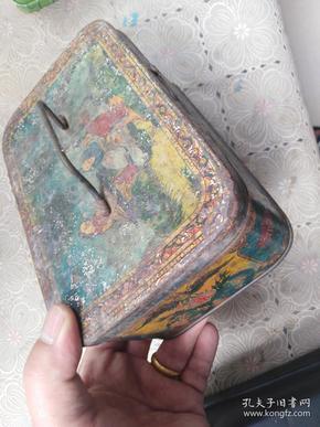 """清代天津""""礼和洋行""""铁盒,图案漂亮"""