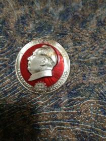 毛主席像章,正面,工人阶级领导一切,背面,毛主席万岁,湘一7,株洲。