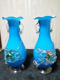 老琉璃瓶、特色民间工艺品【蓝色琉璃瓶一对】尺寸看图。七八十年代嫁妆瓶