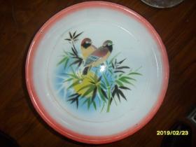 两个黄鹂鸣翠柳-松江牌大号搪瓷盘