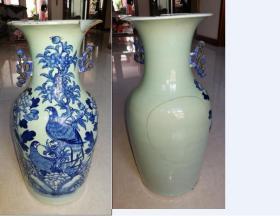 特惠清末民国花鸟图青花大花瓶包老惜残可做瓷器标本