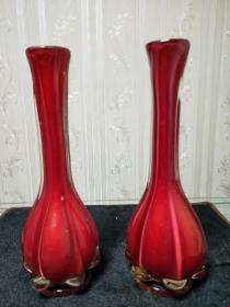 精美琉璃瓶、特色民间工艺品【红色长嘴琉璃瓶一对】尺寸看图。七八十年代嫁妆瓶.