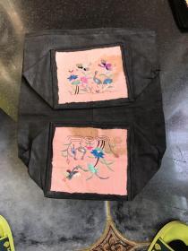 民国时期枕头套一个 刺绣花鸟图案 刺绣枕头顶枕片