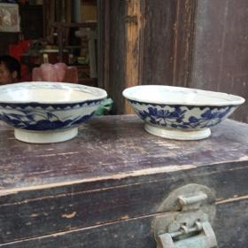 民国潮州青花大瓷两个,最大直径16.5厘米